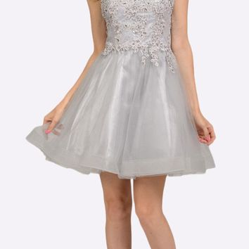 Silver Lace Applique Bodice Short Prom Dress Sleeveless Cut Out Back