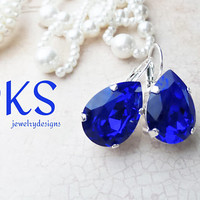 Beautiful Majestic Blue Pear Bridal Earrings, Lever Backs, Silver, 18x13,Cobalt, Sapphire, Drops, DKSJewelrydesigns, FREE SHIPPING