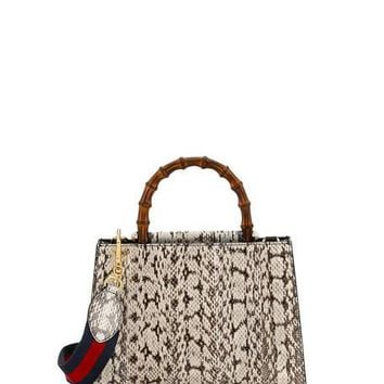Gucci Nymphea Small Bamboo-Handle Snakeskin Tote Bag, Black/White