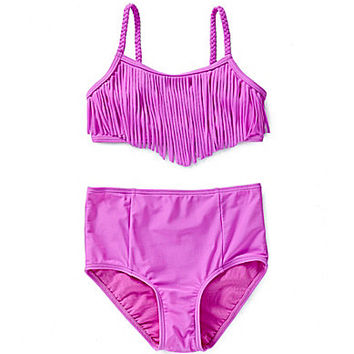 GB Girls 7-16 Fringe Top & High-Waist Bottom - Pinky Lilac