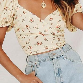 Share Your Thoughts Short Puff Sleeve Cross Wrap V Neck Lace Up Back Crop Top - 2 Colors Available