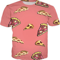 Pizza at salmon pink all-over-print tee shirt, yummy fastfood themed tshirt