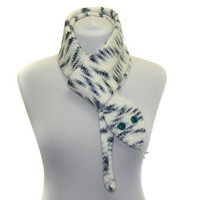 Snake Scarf /  Hand Knit Scarf / white black  / animal scarf / halloween