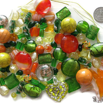 Over 100 Pcs. Assorted Yellow Orange Green Beads Pendants Lampwork Glass Acrylic Jewelry Making Crafts