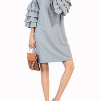Fashion 3/4 Ruffle Sleeve Solid Dress - NOVASHE.com