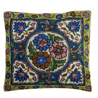 16x16 Floral Embroidered Cushion Cover Colorful Pillow Cases Cotton Pillow Sham