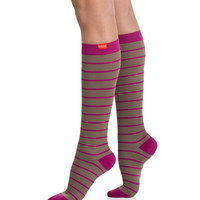 Women's Nautical Stripes: Light Brown & Fuchsia (Nylon)