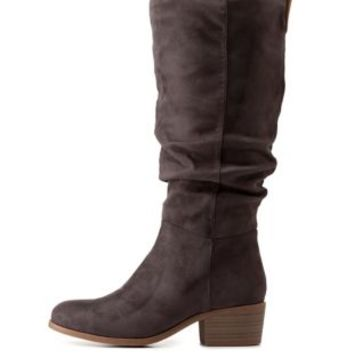 Gray Ruched Contrast-Tab Riding Boots by Charlotte Russe
