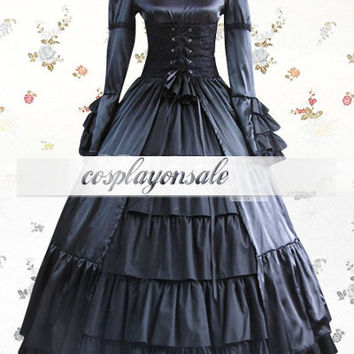 Black Long Sleeves Stand Collar Multi-Layer Satin Cotton Classic Lolita Dress [T110172] - $73.00 : Cosplay, Cosplay Costumes, Lolita Dress, Sweet Lolita