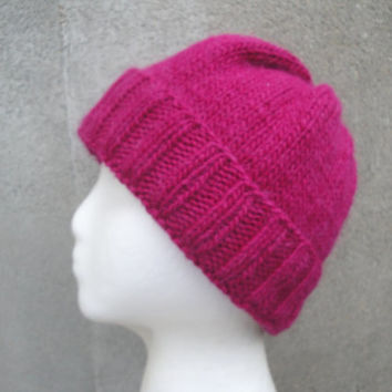 Sangria Pink Beanie, Hand Knit in Llama Wool, Slouchy Slouch Hat, Women & Teen Girls