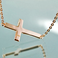 Rose Gold Sideways Cross Necklace in 14K Gold Vermeil Perfectly Sized like Kelly Ripa Horizontal Cross - Valentine's Day Gift