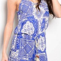 Royal Paisley Romper