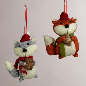 Fabric Fox with Pinecone Ornaments, Set of 2 - World Market
