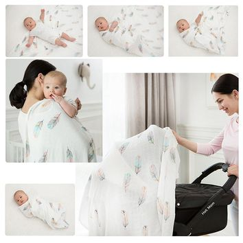 Muslin Wrap Newborn Blankets Bath Gauze Baby Swaddles Soft  Infant Wrap Sleepsack 100% Cotton Baby Stroller Cover Play Mat