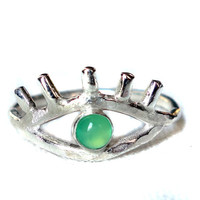 Bat Your Lashes- Sterling Silver Eye Ring with Chrysoprase