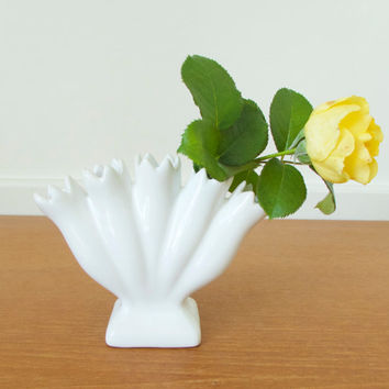 Small white finger vase, tulip vase made in Portugal