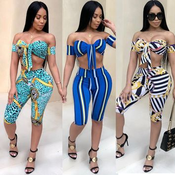 2 Piece Set Striped Print Off Shoulder Crop Tops+Bodycon Shorts