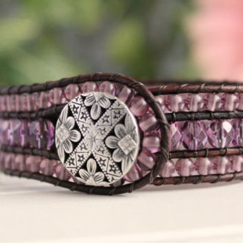 Beaded Leather Wrap Cuff, 3 Row Bracelet, Orchid, Purple, Bohemian Jewelry