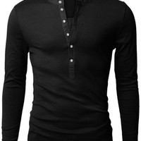 V-Neck Button Design Long Sleeve Shirt