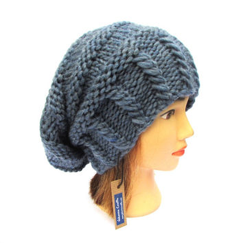 Slouchy beanie hat blue slouch hats for women denim blue wool hat - trendy slouch hat - chunky knit blue hat for her - cool hat for women