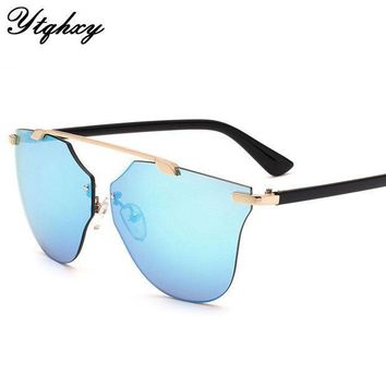 New Cat Eye Aviator Sunglasses Women Vintage Fashion Metal Frame Mirror Sun Glasses Boundless Style Ladies Sunglasses Uv400 Y149