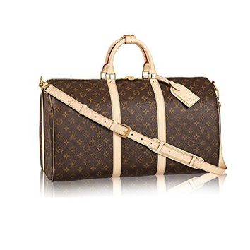 Louis Vuitton Monogram Canvas Cross Body Handle Keepall Bandoulière 50 Made in France
