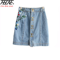THHONE Women Skirts Denim Jeans Button Embroidered Floral Fashion Slim Casual Vintage Faldas Mini High Waist Denim Skirt Female