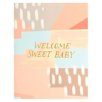 Abstract Welcome Sweet Baby Greeting Card