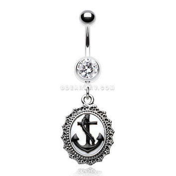 Vintage Cameo Anchor Belly Button Ring (Clear)