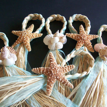 Starfish and Raffia Chair Hangers, Beach Wedding, Choose your Ribbon, Destination Wedding, Seashells