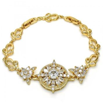Gold Layered Fancy Bracelet, Flower and Leaf Design, with Cubic Zirconia, Golden Tone