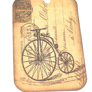 Vintage Inspired Bicycle Gift TAgs Set of 6 Penny Farthing Tan Grunge Postal background