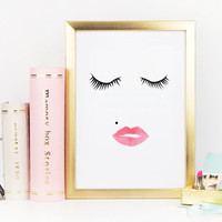 MAKEUP Print,EYELASHES,Lip,Makeup Poster,Bathroom Decor,Makeup Face,Bathroom Wall Art,Gift Idea,Digital Art Print,Fashion Print,Printable