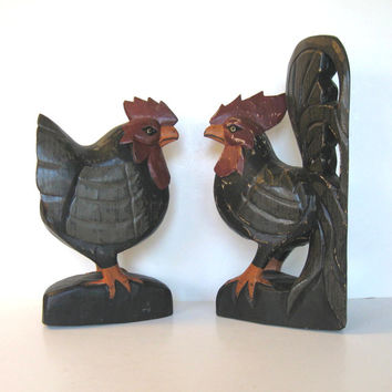 SALE, Large Pair of Vintage hancarved wooden Rooster and Chicken, Home and Living, Country home decor