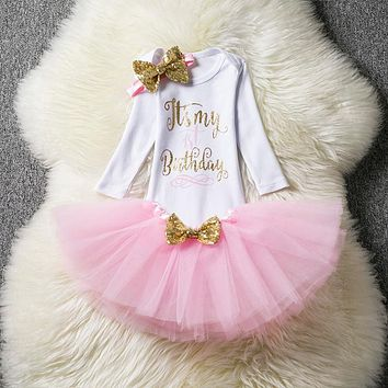 Summer New Born Baptism Baby Girl Dress Tutu Baby Clothes for 1st Birthday Party Princess Outfits Headband