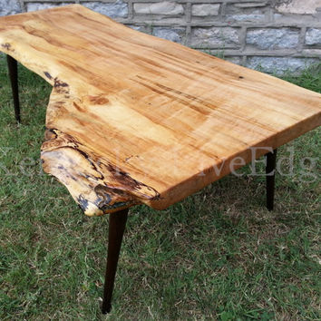 Sale- Reclaimed Wood Coffee Table- Upcycled Mid Century Modern Legs- Danish- Live Edge Slab- Ambrosia Maple- Natural Wood Furniture- Cool