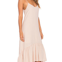 Crepe Voile Ankle Length Flounce Dress in Dusty Peach