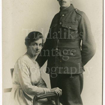 WW1 Uniformed Soldier and Woman Handsome Couple Photo Postcard - English Dated November 18th 1918 Unposted RPPC HOWE