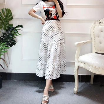"""Gucci"" Women Temperament Fashion Cartoon Snow White Pattern Print Short Sleeve T-shirt Polka Dots Long Skirt Set Two-Piece"