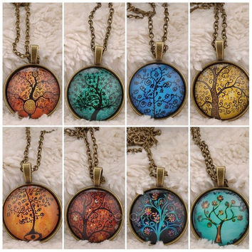 Life Tree Pendant Art Tree Glass Bronze Chain Choker Necklace 1PCS = 1946434820