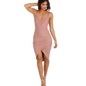 Pre-Order: Mauve Wrap Me In Your Arms Suede Dress