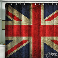 "Shower Bath Curtain British flag UK banner London Great Britain grunge 71x71""(180x180cm)"