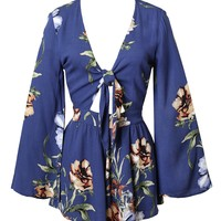 Blue Floral Bell Sleeve Romper-FINAL SALE