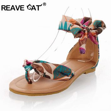 REAVE CAT Big size 34-43 T strap colorful Beach flat heel sandals shoes women Summer S