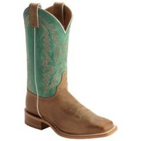 Sheplers: Justin Bent Rail Burnished Calf Cowgirl Boots - Square Toe