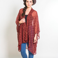 Kimono Jacket in Berry & Gold Sketched Plaid