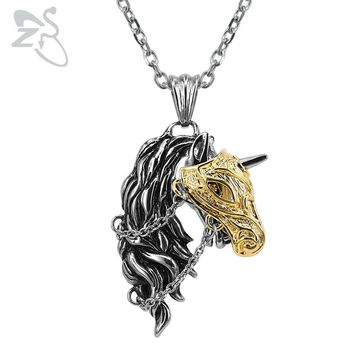 ZS 316L Stainless Steel Pendant Necklace Fashion Horse Head Pendants Punk Animal Necklaces Jewelry Long Chain Necklace for Men
