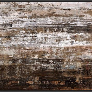 WOODEN PALLET 22L X 28H Floater Framed Art Giclee Wrapped Canvas