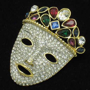 Large Vintage Face Pin Gold Plated Rhinestone Tribal Mask Brooch