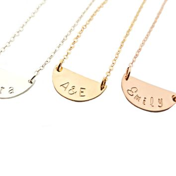 Arielle Necklace - Half Circle Personalized Necklace